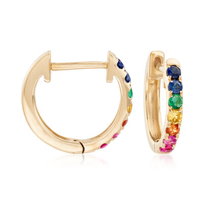 .28 ct. t.w. Multi-Gemstone Huggie Hoop Earrings in 14kt Yellow Gold, , default