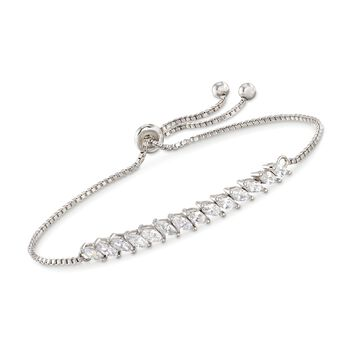 2.00 ct. t.w. Marquise CZ Bolo Bracelet in Sterling Silver , , default