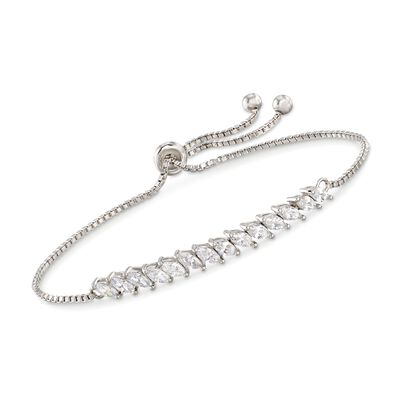 2.00 ct. t.w. Marquise CZ Bolo Bracelet in Sterling Silver, , default