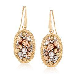 Italian 14kt Tri-Colored Gold Basket Frame Drop Earrings, , default