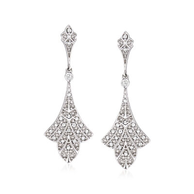 .10 ct. t.w. Diamond Floral Drop Earrings in Sterling Silver