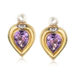 C. 1980 Vintage 9.00 ct. t.w. Amethyst and 6mm Cultured Pearl Earrings With Diamonds in 14kt Yellow Gold, , default