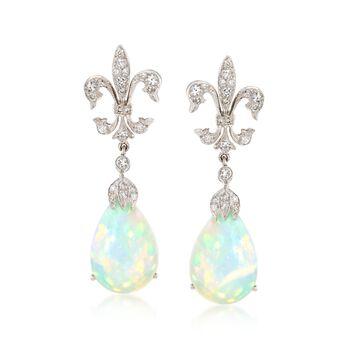 C. 2000 Vintage Opal and .55 ct. t.w. Diamond Fleur-De-Lis Drop Earrings in 18kt White Gold, , default