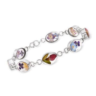 Dried Flower Link Bracelet in Sterling Silver, , default
