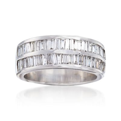 C. 1990 Vintage 1.10 ct. t.w. Baguette Diamond Two-Row Ring in 14kt White Gold, , default