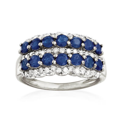 1.70 ct. t.w. Sapphire and .39 ct. t.w. Diamond Multi-Row Ring in 14kt White Gold