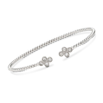 Gabriel Designs .40 ct. t.w. Diamond Clover Cuff Bracelet in 14kt White Gold, , default