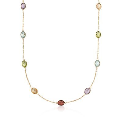 17.50 ct. t.w. Multi-Stone Station Necklace in 14kt Yellow Gold, , default