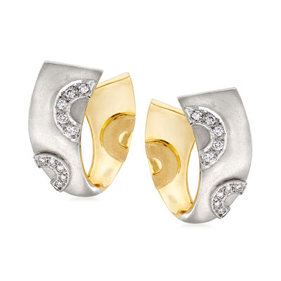C. 1980 Vintage .35 ct. t.w. Diamond Ribbon Clip-On Earrings in 18kt Two-Tone Gold, , default