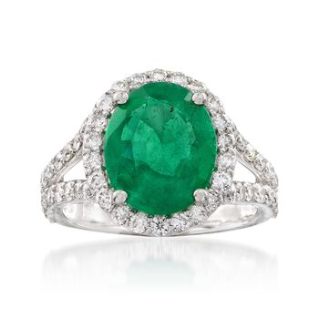 3.95 Carat Emerald and 1.25 ct. t.w. Diamond Ring in 14kt White Gold. Size 7, , default
