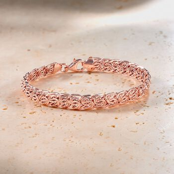 14kt Rose Gold Flat Byzantine Bracelet, , default