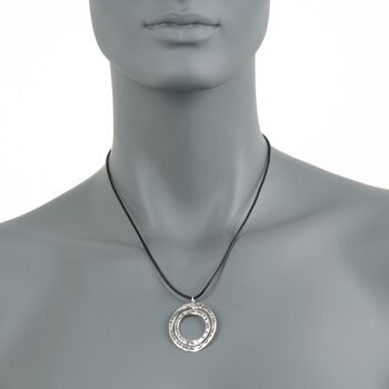"Zina Sterling Silver ""Sahara"" Double Circle Pendant Necklace. 17"", , default"