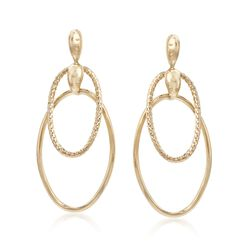 Italian 14kt Yellow Gold Double Hoop Drop Earrings, , default