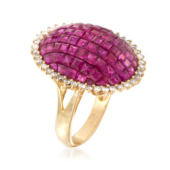 5.25 ct. t.w. Ruby and .60 ct. t.w. Diamond Ring in 18kt Yellow Gold. Size 6, , default
