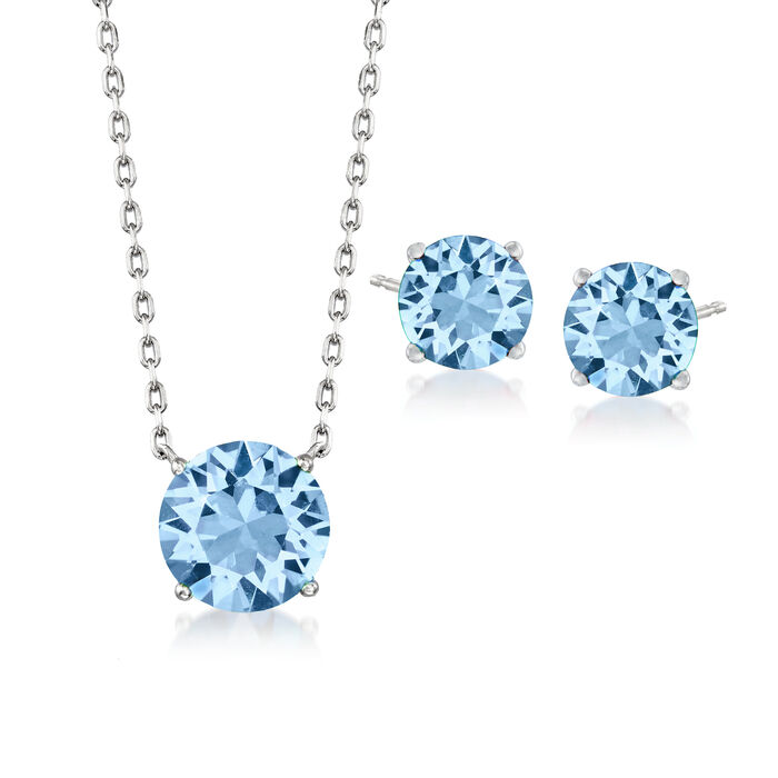 Jewelry Set: Blue Swarovski Crystal Necklace and Earrings in Sterling Silver. 16""