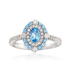 Gregg Ruth .70 ct. t.w. Blue Topaz and .51 ct. t.w. Diamond Ring in 18kt White Gold    , , default