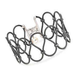 "ALOR ""Noir"" Black Stainless Steel Cable Openwork Bracelet, , default"