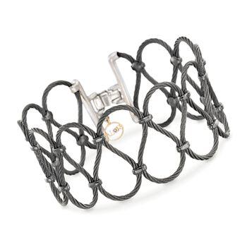 "ALOR ""Noir"" Black Stainless Steel Cable Openwork Bracelet. 7"", , default"
