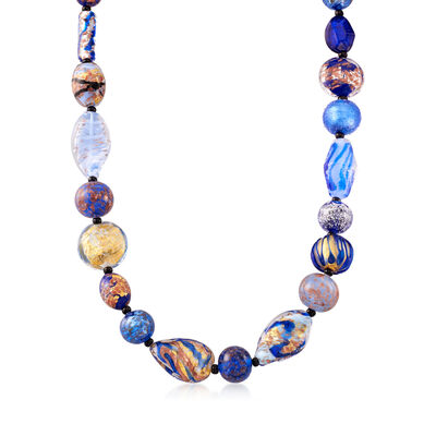 Italian Multicolored Murano Glass Bead Necklace in 18kt Gold Over Sterling , , default