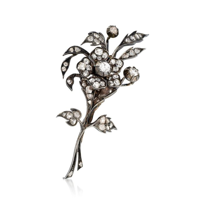 C. 1950 Vintage 3.00 ct. t.w. Diamond Flower Pin with 10kt Gold in Sterling Silver