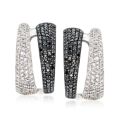 Roberto Coin 2.60 ct. t.w. Black and White Diamond Hoop Earrings in 18kt White Gold