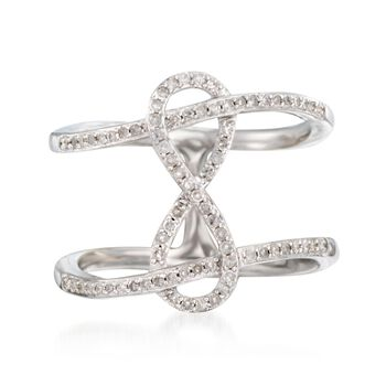.25 ct. t.w. Diamond Infinity Symbol Ring in Sterling Silver. Size 5, , default