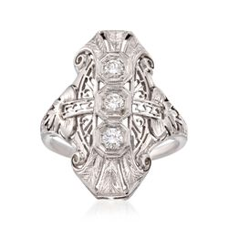 C. 1950 Vintage .33 ct. t.w. Diamond Dinner Ring in 18kt White Gold. Size 8, , default
