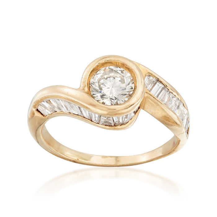 C. 1980 Vintage 1.45 ct. t.w. Diamond Bypass-Style Ring in 14kt Yellow Gold. Size 7.5