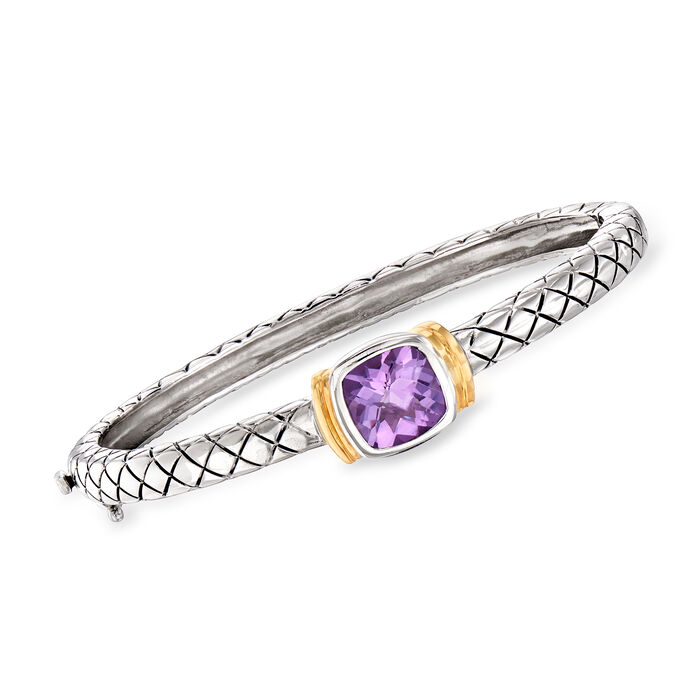 2.10 Carat Amethyst Bangle Bracelet in Sterling Silver with 14kt Yellow Gold