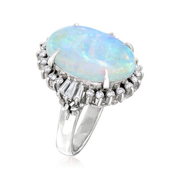 C. 1980 Vintage Opal and .83 ct. t.w. Diamond Ring in Platinum. Size 6.5