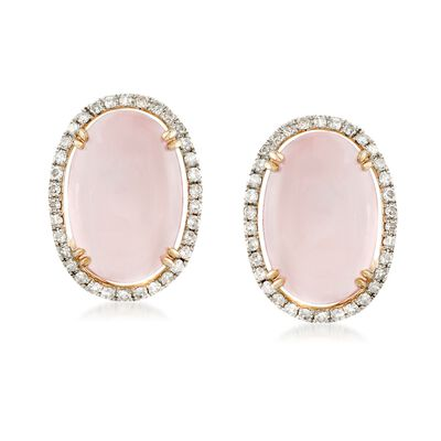 Rose Quartz and .28 ct. t.w. Diamond Earrings in 14kt Yellow Gold, , default