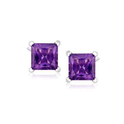 2.00 ct. t.w. Princess-Cut Amethyst Stud Earrings in Sterling Silver