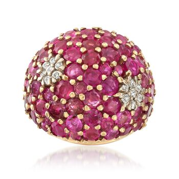 C. 1960 Vintage 6.00 ct. t.w. Ruby and .30 ct. t.w. Diamond Ring in 14kt Yellow Gold. Size 4.5, , default