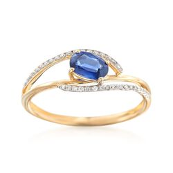 .60 Carat Sapphire and .11 ct. t.w. Diamond Wave Ring in 14kt Yellow Gold, , default