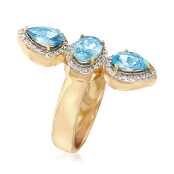 3.30 ct. t.w. Blue and White Zircon Frame Ring in 18kt Gold Over Sterling, , default