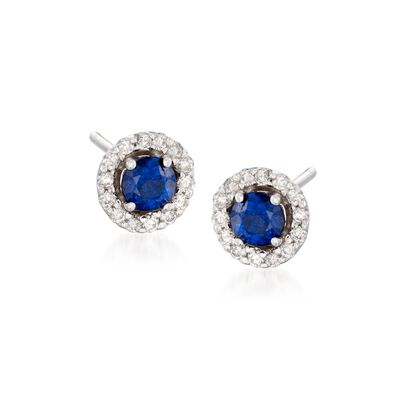.65 ct. t.w. Sapphire and .20 ct. t.w. Diamond Earrings in 14kt White Gold, , default