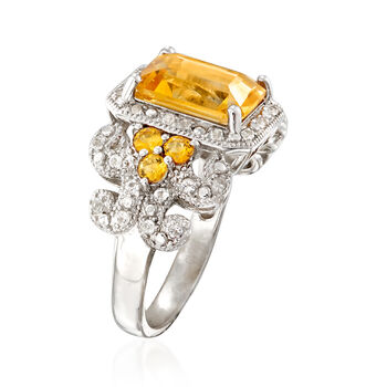 3.40 ct. t.w. Citrine and .40 ct. t.w. White Topaz Three-Stone Ring in Sterling Silver