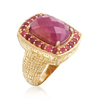 11.20 ct. t.w. Pink Sapphire Ring in 18kt Gold Over Sterling, , default