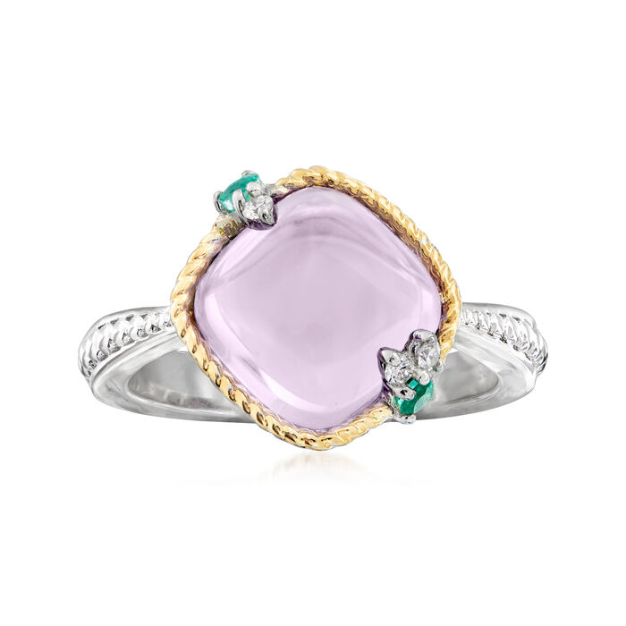 "Andrea Candela ""Dulcitos"" 4.00 Carat Amethyst and Emerald-Accented Ring in Sterling Silver and 18kt Yellow Gold"