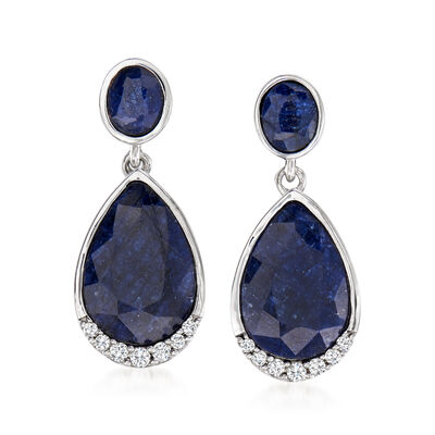 7.10 ct. t.w. Sapphire and .14 ct. t.w. Diamond Drop Earrings in Sterling Silver