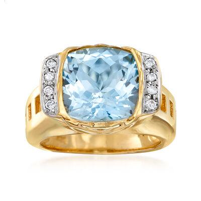 C. 2000 Vintage 3.00 Carat Aquamarine and .10 ct. t.w. Diamond Ring in 14kt Yellow Gold, , default