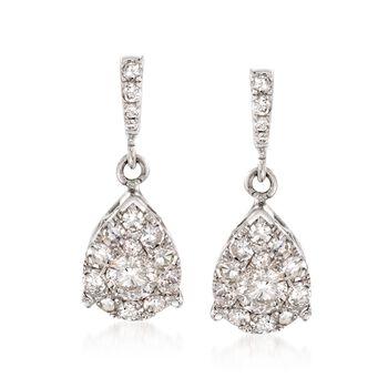 1.00 ct. t.w. Diamond Illusion Teardrop Earrings in 14kt White Gold , , default