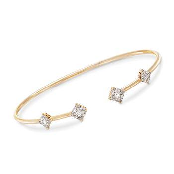 ".50 ct. t.w. Diamond Station Open Cuff Bracelet in 14kt Yellow Gold. 7.5"", , default"
