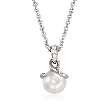 """Mikimoto 8mm Akoya Pearl and .25 ct. t.w. Pave Diamond Pendant Necklace in 18kt White Gold. 18"""", , default"""
