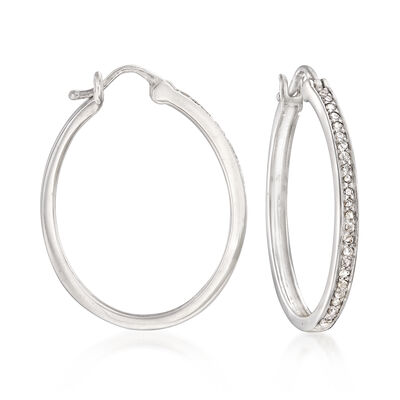 .25 ct. t.w. Diamond Hoop Earrings in Sterling Silver, , default