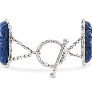 """Lapis Large Scarab Station Toggle Bracelet in Sterling Silver. 7"""", , default"""