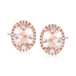 3.40 ct. t.w. Morganite and .20 ct. t.w. Diamond Earrings in 14kt Rose Gold, , default