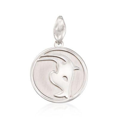 Italian Sterling Silver Capricorn Zodiac Pendant, , default
