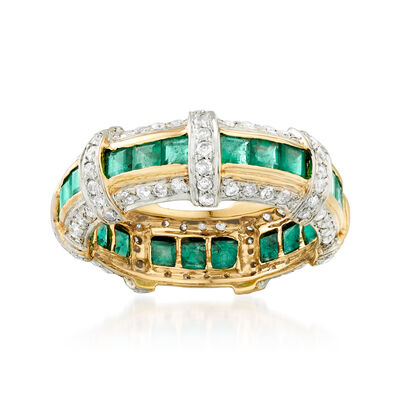 1.60 ct. t.w. Emerald and .75 ct. t.w. Diamond Eternity Band in 14kt Yellow Gold, , default