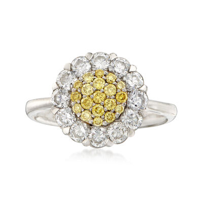 C. 2000 Vintage 1.90 ct. t.w. Yellow and White Diamond Ring in 18kt White Gold, , default